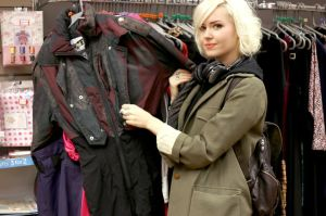 Laura in a Muswell Hill charity shop - picture by Jessy Boon Cowler