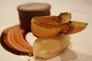 Scott's Cru Virunga chocolate pudding soufflé with banana ice cream and plantain crisp
