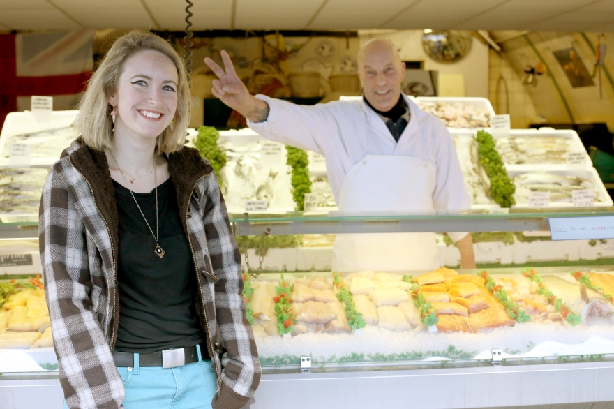 Emily in front of her favourite fish stall in Brixton Market - picture by Jessy Boon Cowler
